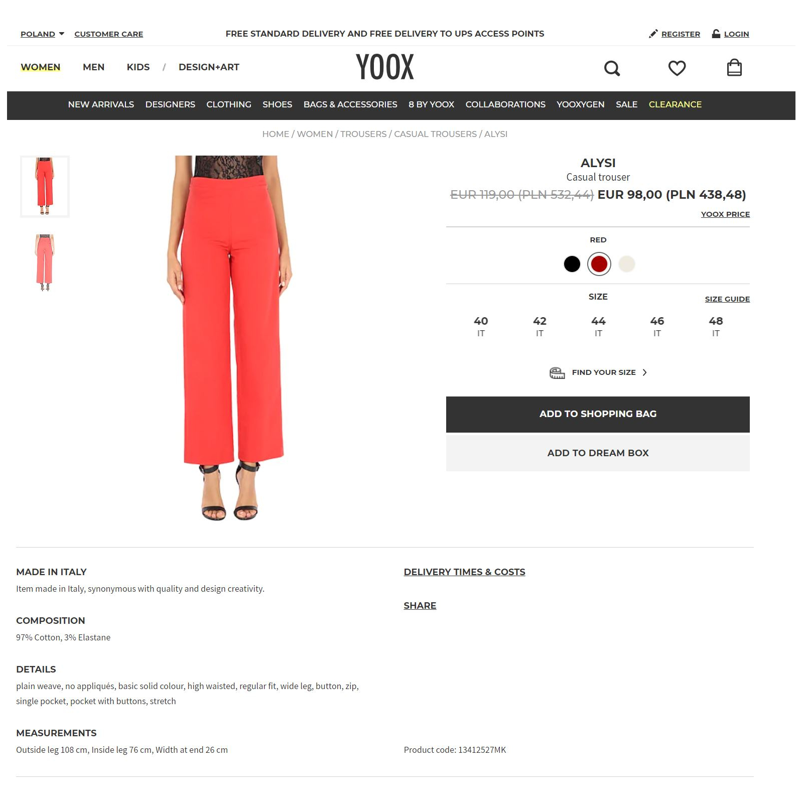 ALYSI Casual trouser 44 Italy