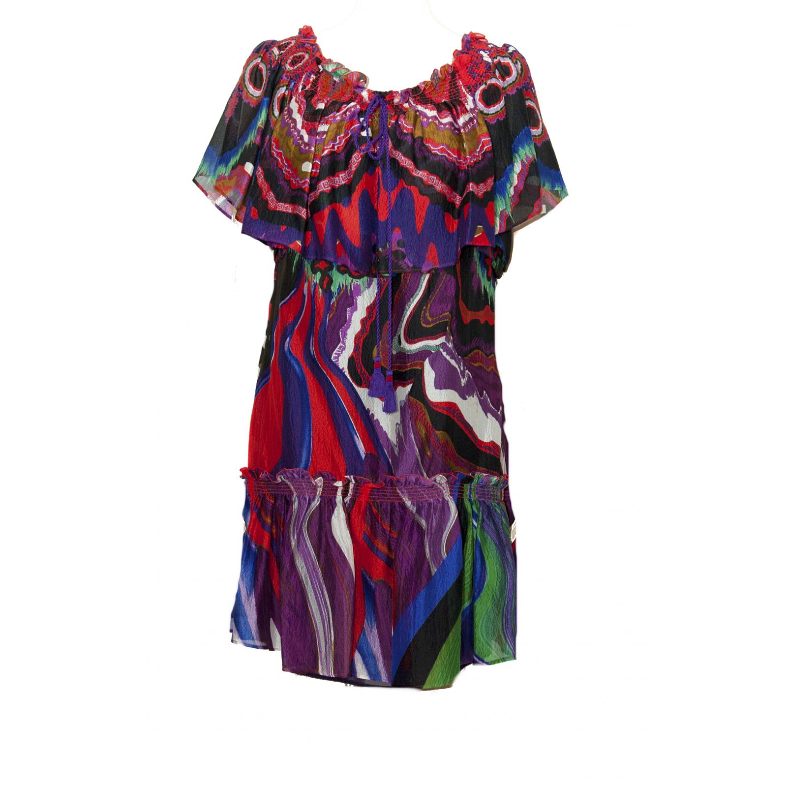 Zwiewna  krótka sukienka z jedwabiu