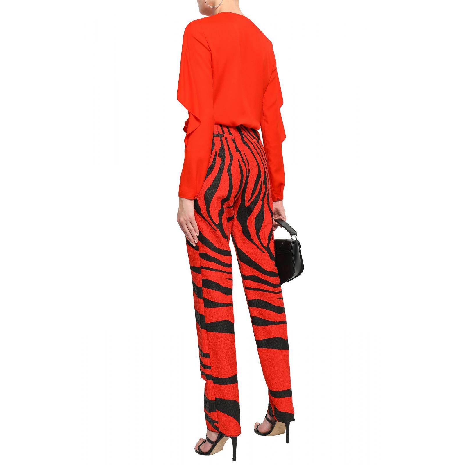 Spodnie we wzór zebry i z motywem iguana jacquard