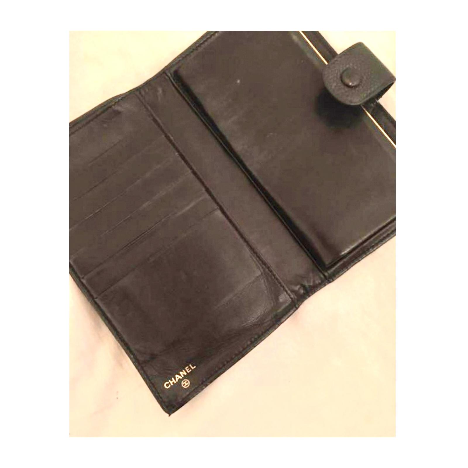 Chanel duży portfel czarny kawiorowa skóra