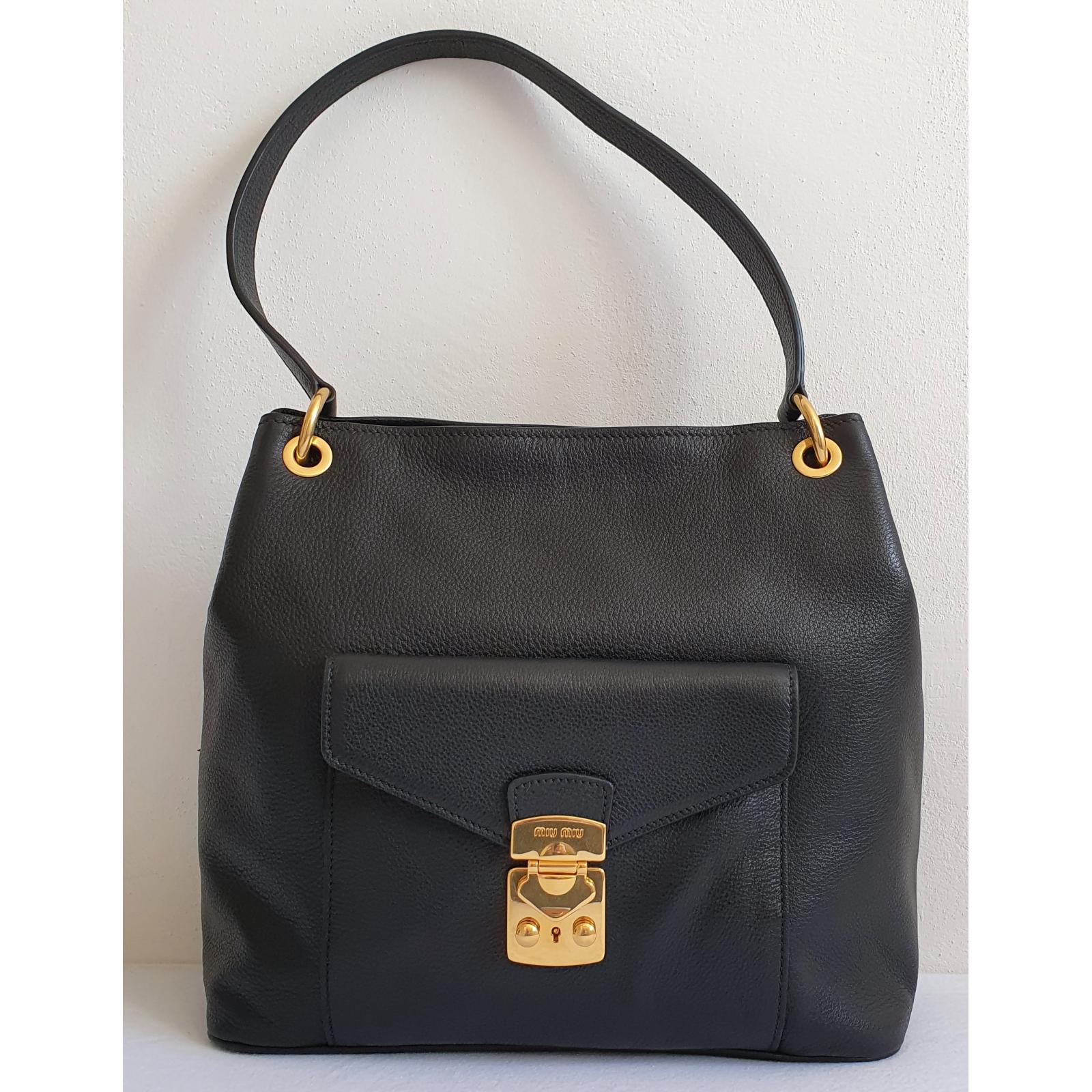 Miu Miu Black Leather Hobo Bag , nowa