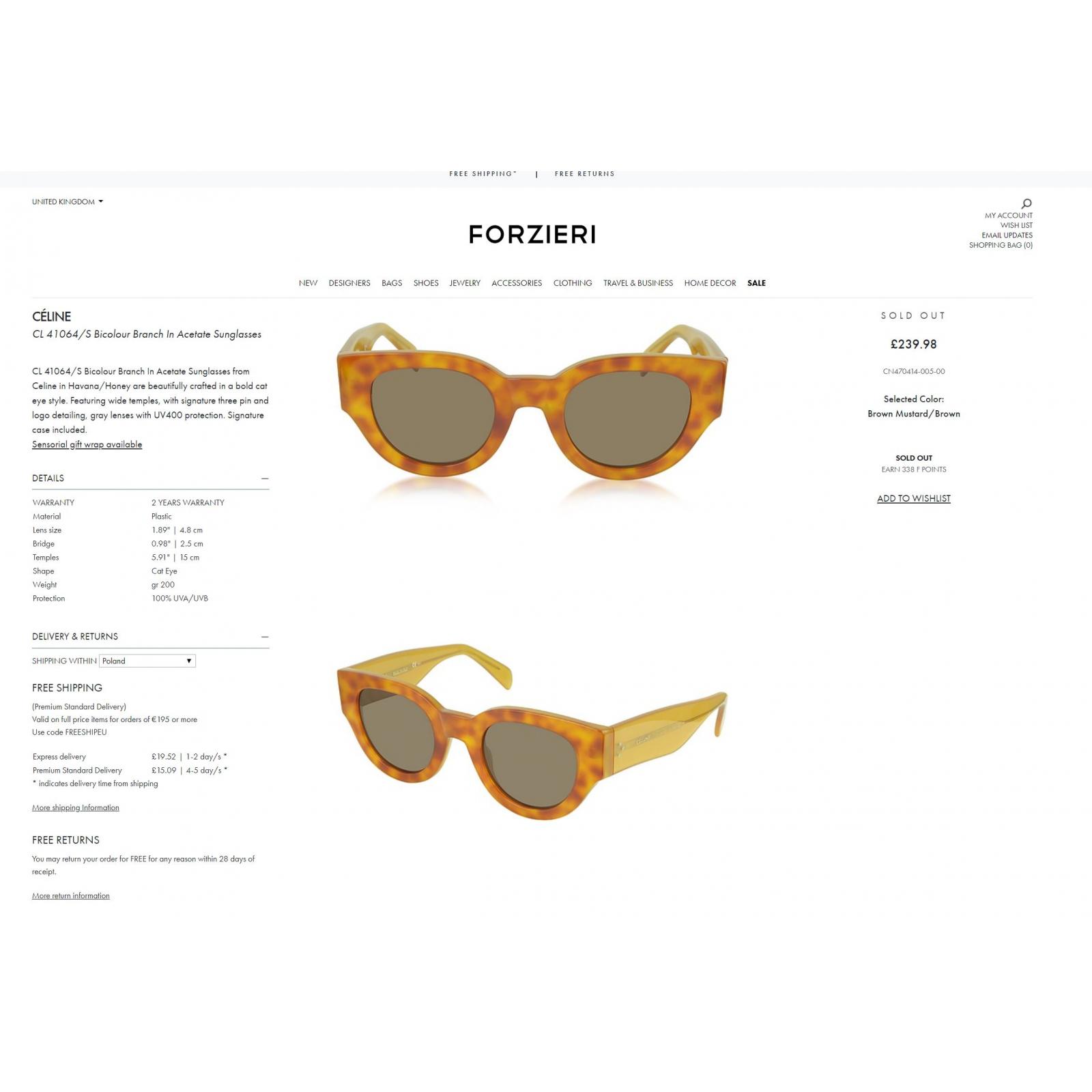 CELINE okulary przeciwsłoneczne CL 41064/S nowe