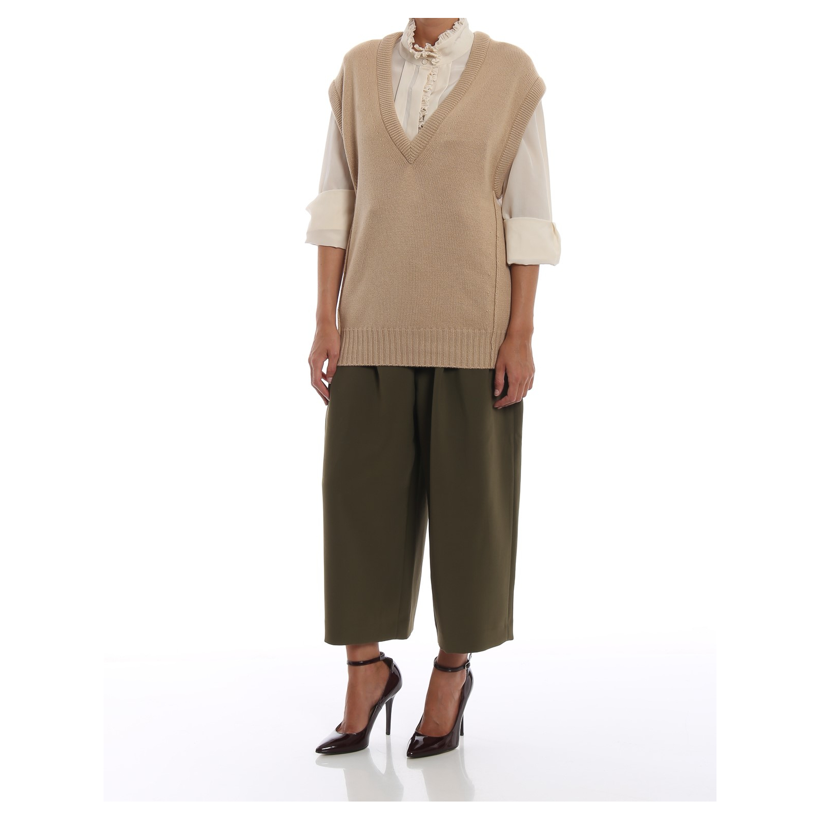 CHLOE V-neck loose knitted top kaszmir, nowy