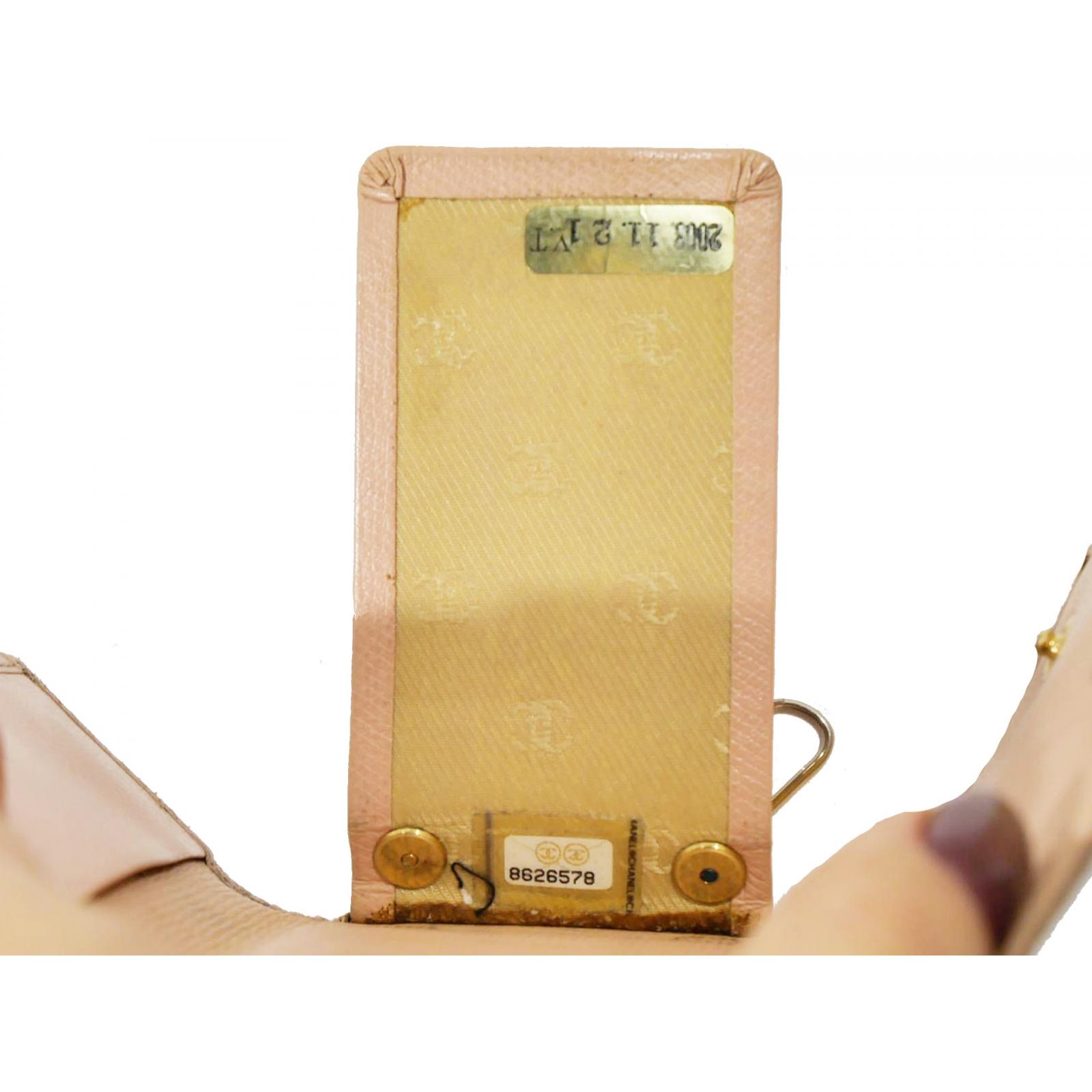 chanel portfel z etui na klucze różowe skóra kawiorowa