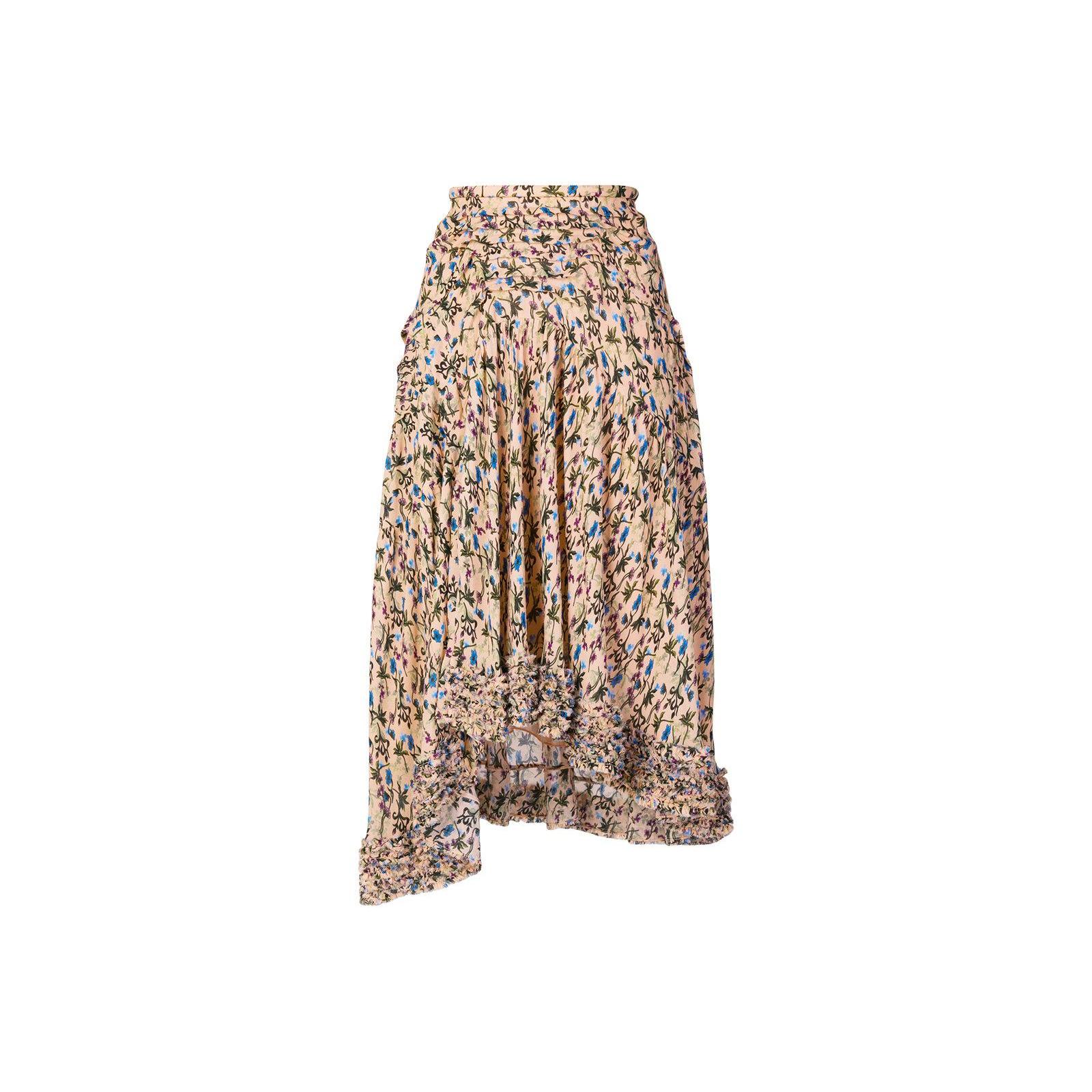Chloe Natural Frayed Floral Skirt nowa