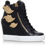 Czarne Sneakersy za kostkę ze złotymi skrzydłami