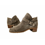 STUART WEITZMAN DUDE Taupe Suede Buckled Ankle