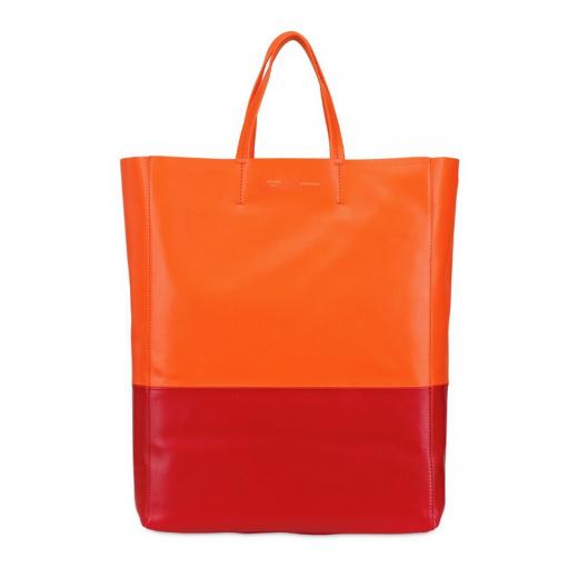 Celine cabas bicolored leather tote, pomarańczowa
