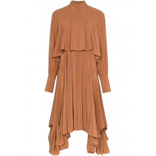 CHLOE Asymmetric pleated silk crepe de chine dress