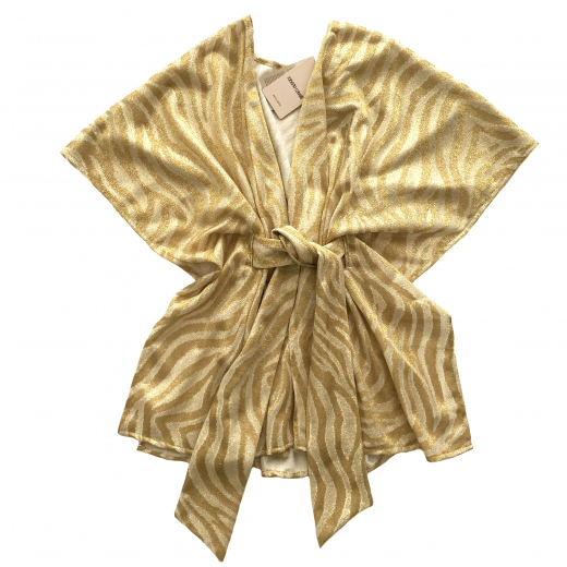 ROBERTO CAVALLI  Beachwear - krótki kaftan złoto-biały