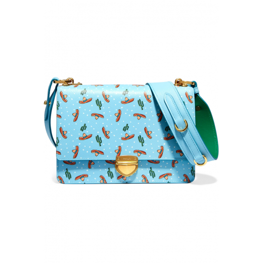 Prada Printed leather saffiano shoulder bag, nowa