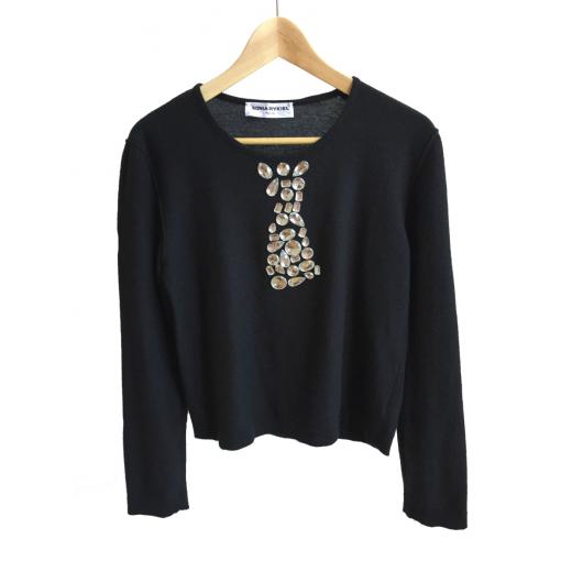 Sweterek czarny z kryształkami