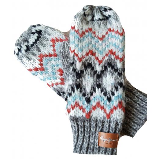 Rękawiczki z jednym palcem kolorowe wzorzyste Pepe Jeans z wełną