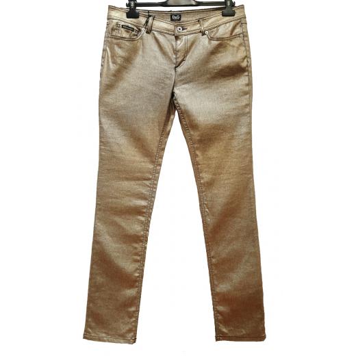 lniane spodnie w kolorze chłodnego złota nowe