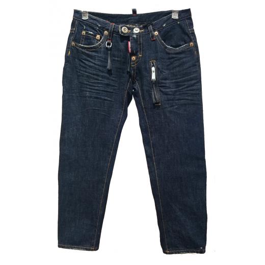 granatowe spodnie o dł. 3/4 z gęsto tkanego jeansu nowe
