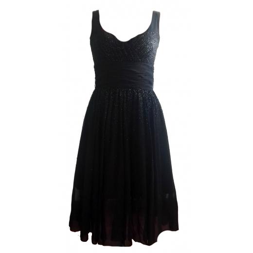 Ozdobna Czarna Sukienka Laurél 36