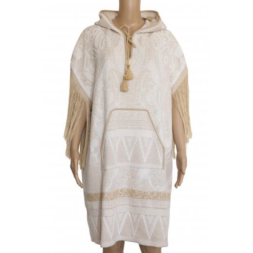 Sukienka - ponczo z kapturem i frędzlami