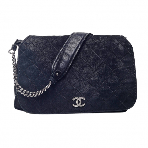 Chanel Aged Chain Messenger Flap Bag Quilted Large