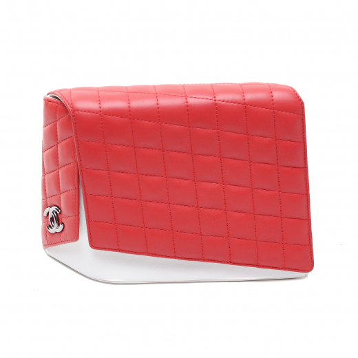 Chanel Red/White Quilted Lambskin Leather Fresh Air Clutch Bag
