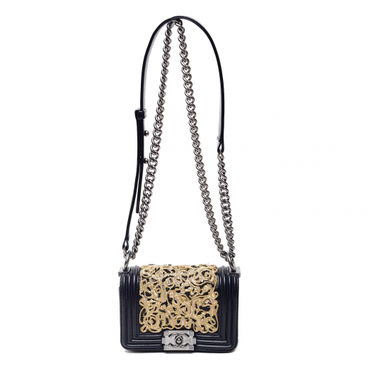 Chanel Gold and White Embroidered Boy Bag