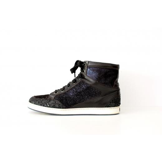Jimmy Choo Tokyo leather-glitter ankle sneakers