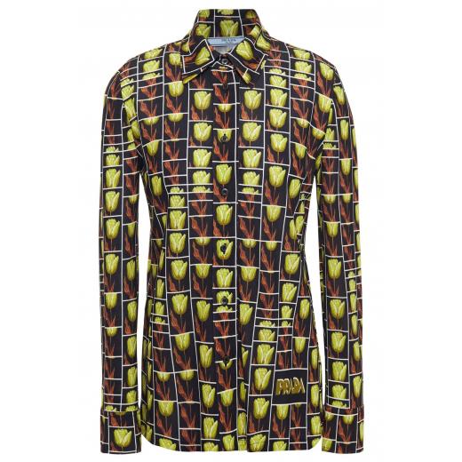 Prada Green Tulip Print Shirt, nowa XS-S