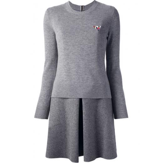 Victoria, Victoria Beckham Gray Jumper Skirt Dress