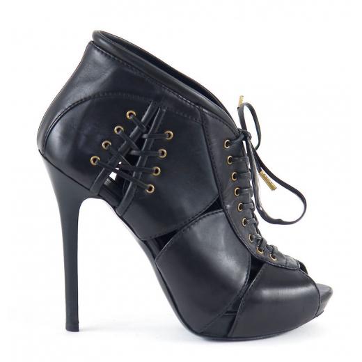 Alexander McQueen botki wiązane czarne