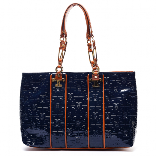 Tory Burch 'Nico Lux T' Embossed Patent Leather Tote