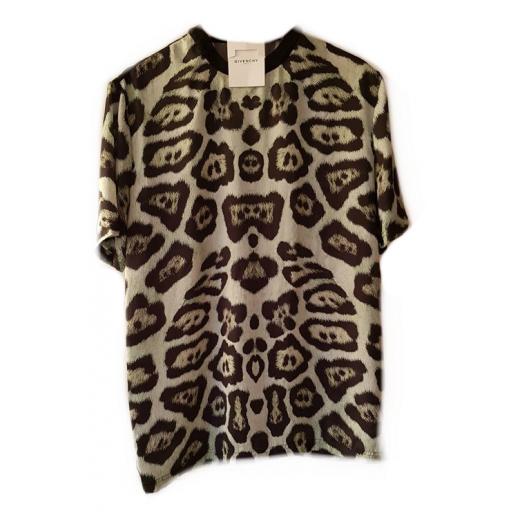 Bluzka/ t-shirt w lamparcie cętki w kolorze czarno-zielonym