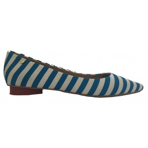 Love Moschino- stripes- niebiesko- biale balerinki damskie