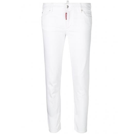 DSQUARED2 Medium Waist Cropped Twiggy jeans białe