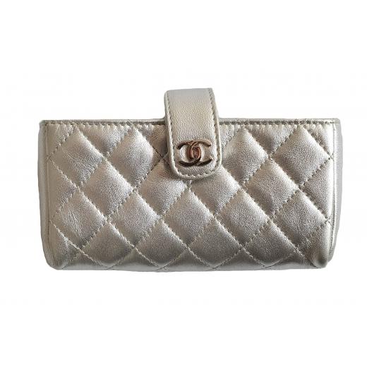 Chanel mikro torebka, portfel, etui, srebrna skóra