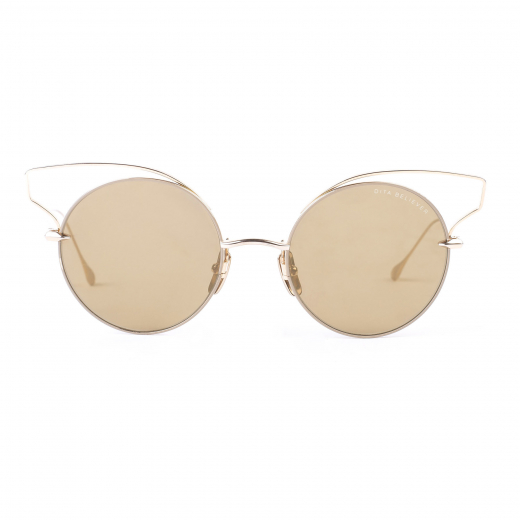 Tan New Believer Gold Mirrored Metal Wired Cat Eye Sunglasses