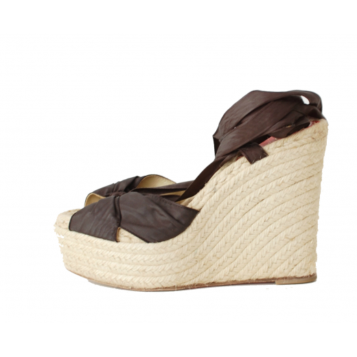 Christian Louboutin Silk Wedge Espadrilles