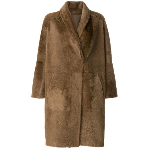 Sprung Freres oversized płaszcz z owczej skóry