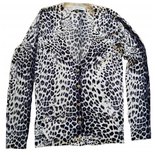 Pierre Balmain sweterek wełniany leopard print