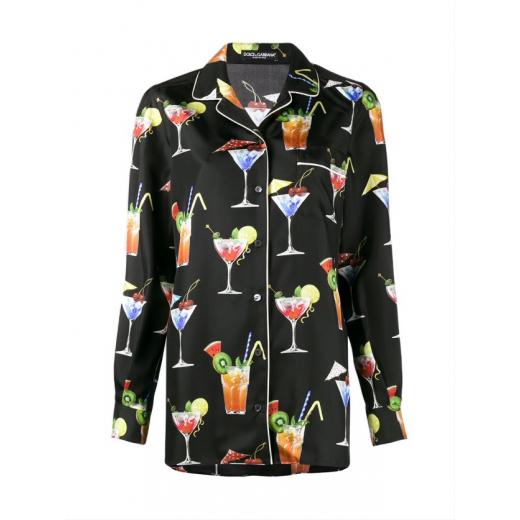 Dolce Gabbana Cocktail Print silk shirt, nowa