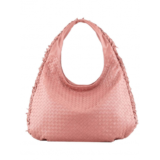 Bottega Veneta Intrecciato Duo Hobo Bag, Coral