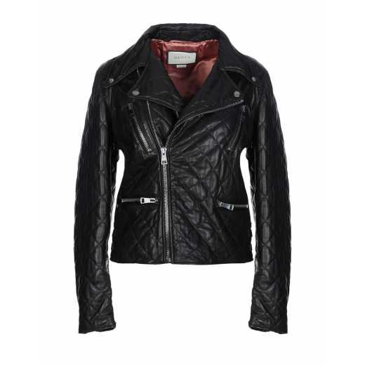 Gucci Black Quilted Leather Biker Jacket S-M
