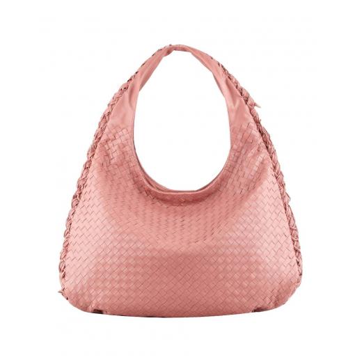 Bottega Veneta Intrecciato Duo Hobo Bag, Coral