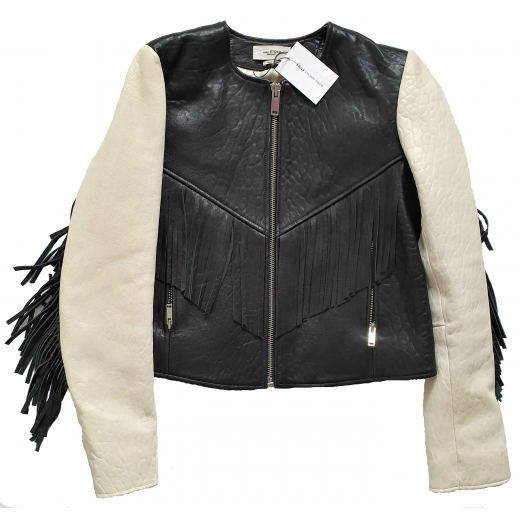 ISABEL MARANT ETOILE Embroidered Leather Jacket XS-S