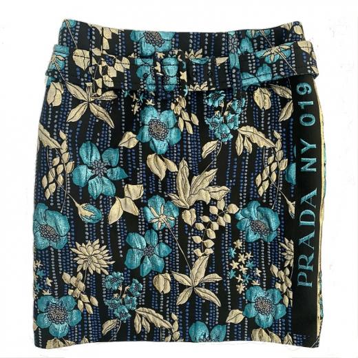 PRADA – spódnica z paskiem we wzór kwiatowy