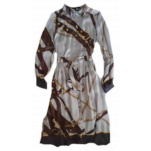 Gucci sukienka Printed silk-satin 34/36
