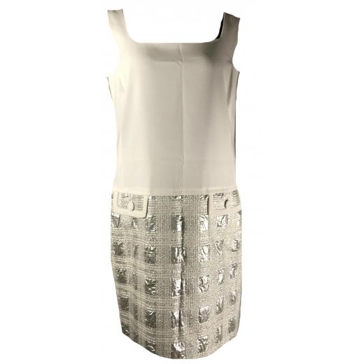 sukienka biało- srebrna