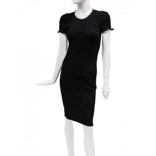 Valentino czarna dzianinowa sukienka z kokardkami