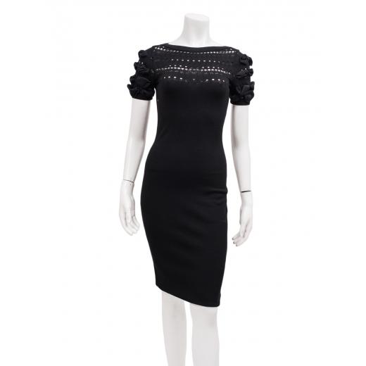 Valentino czarna sukienka z bufkami