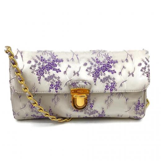 Prada Purple Brocade Shoulder Bag