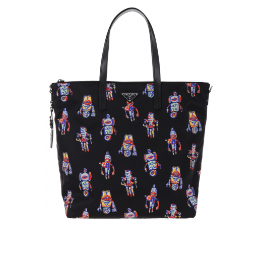 PRADA Robot print shopping bag in nylon