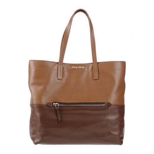 Miu Miu Shopping Large Brown Calfskin Leather Tote